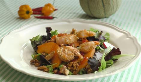 Panētu tīģergarneļu salāti