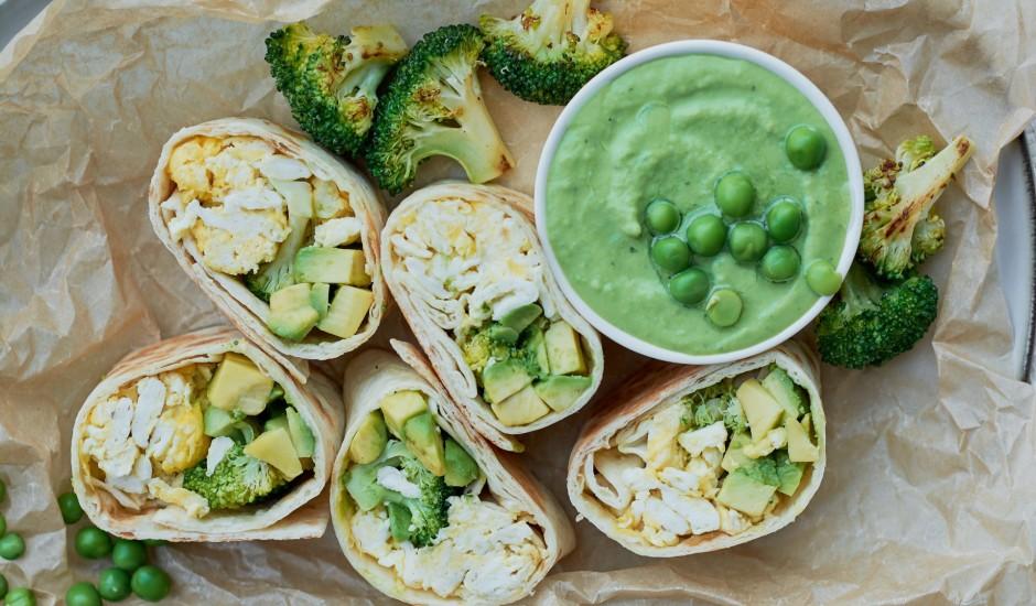 Zaļie brokastu burrito