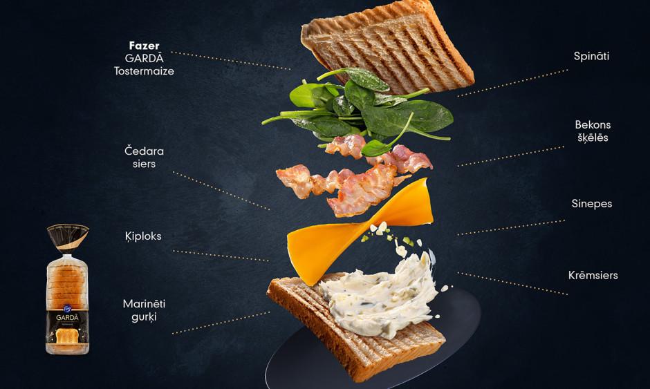 """Uz maizes šķēles kārto siera šķēli, bekonu, spinātus un """"aiz..."""