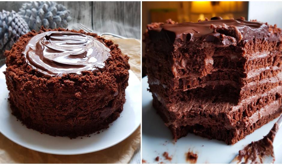Šokolādes torte ar vārītu šokolādes krēmu