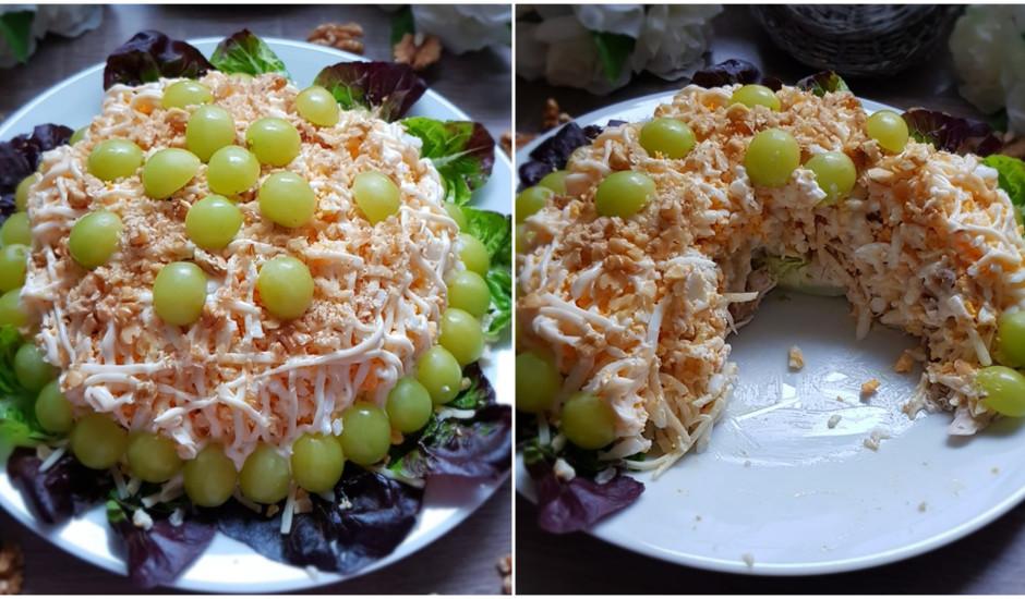 Tifānijas salāti ar vistu, smadzeņu riekstiem, vīnogām un sieru