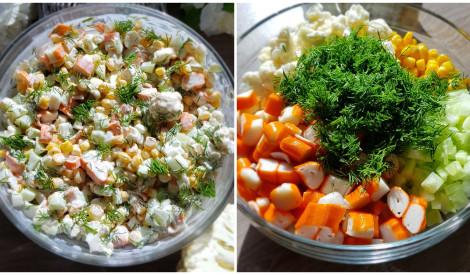 Krabju salāti ar puķkāpostu, kukurūzu un svaigu gurķi