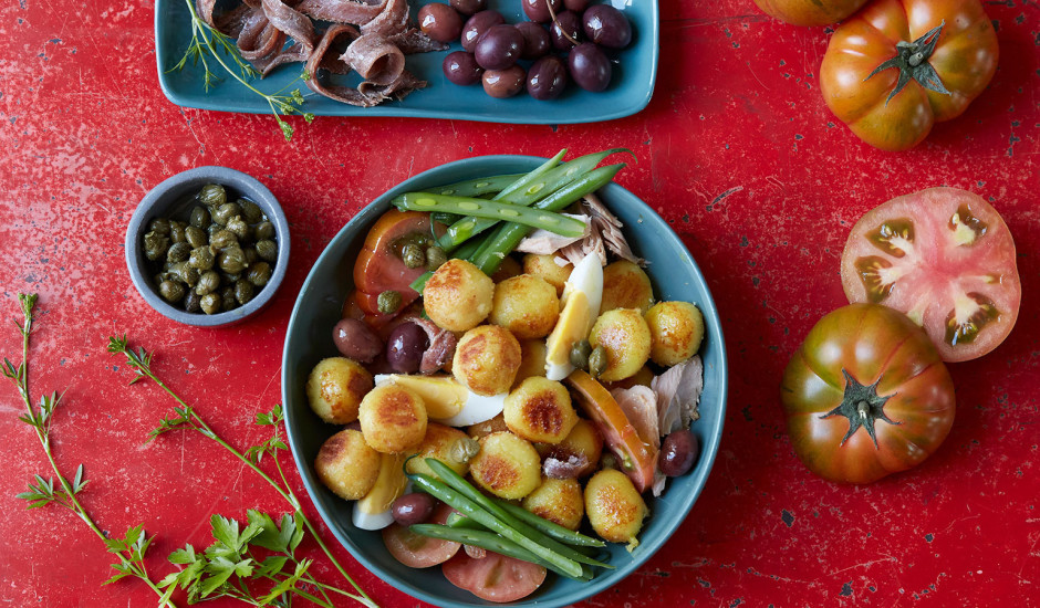 Nicas salāti ar tomātu un mocarellas Gnocci