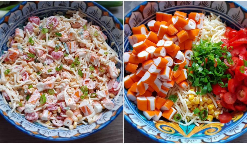 Krabju nūjiņu salāti ar sieru