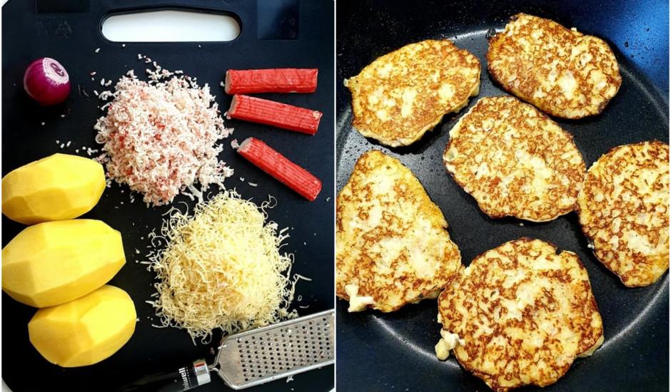 Gardās kartupeļu pankūkas ar krabju nūjiņām