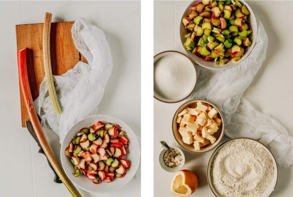 Sajauc sagrieztus rabarberus ar 100 gramiem cukura un citron...