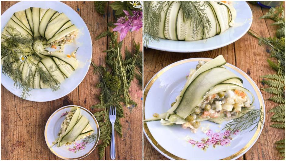 Norotā salātus pēc sirds patikas un pasniedz.  Lai labi ga...