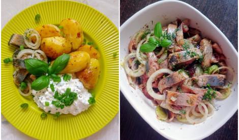 Uzlabotā siļķe ar zaļumu biezpienu un ķimeņotiem kartupeļiem