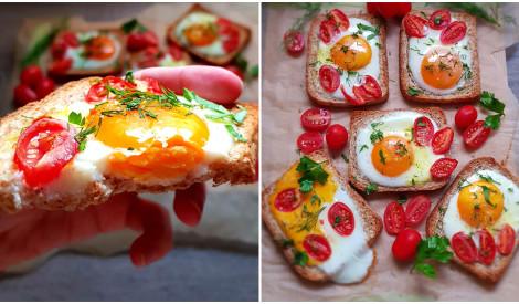 Košās brokastu maizītes ar olām