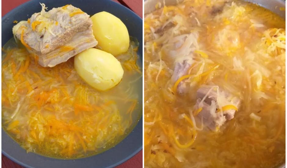 Skābu kāpostu zupa ar vārītiem kartupeļiem